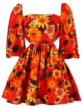Copacabana Dress Tropical Floral Red