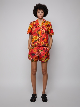 Escadaria Button Up Shirt Tropical Floral Red
