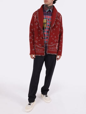Bandana Jacquard Cardigan BRICK RED