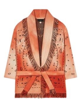 Dusty Road Bandana T&D Cardigan Orange Tie-Dye