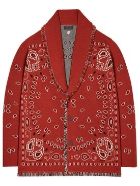 Cashmere Bandana Jacquard Cardigan Brick Red