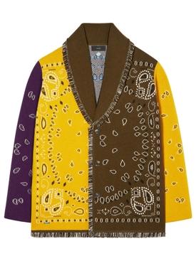 Cashmere Bandana patchwork cardigan brown and yellow