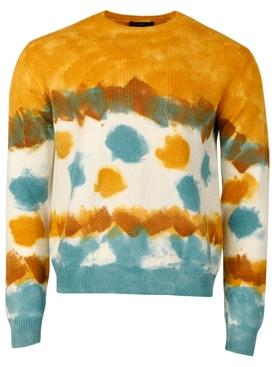Mirage in the desert wool sweater Teal Tie Dye