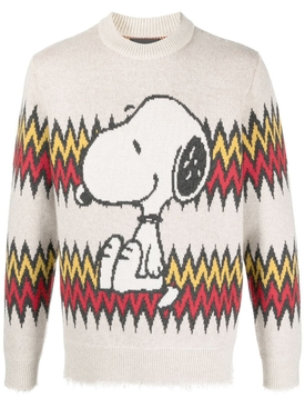 Snoopy plays harmonica sweater, champagne beige