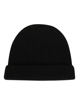 Black cashmere ribbed beanie hat