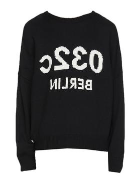 Black logo knit sweater