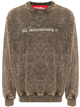Logo Embroidered Acid Wash Sweatshirt