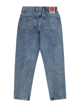 Straight-leg eyelet denim jeans