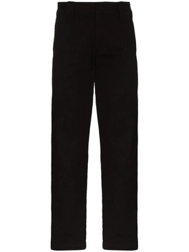 Black Straight-Leg Cotton Pants