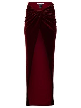 Velvet Wrap Hip Maxi Skirt Oxblood Red