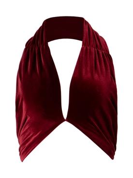 Velvet Wrap Crop Top Oxblood Red