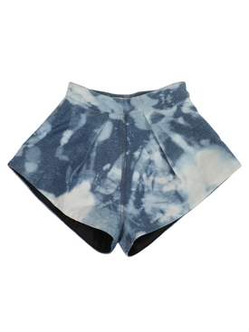 Bleached denim shorts, blue
