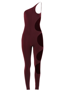 One shoulder cut-out jumpsuit, plum