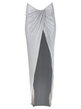EMBELLISHED MAXI SKIRT WITH WRAP HIP DETAIL WHITE