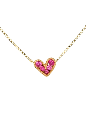 Pink Sapphire Baroque Heart Charm Necklace