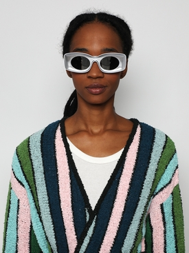 X PAULA'S IBIZA Silver Smoke Mirror rectangular sunglasses