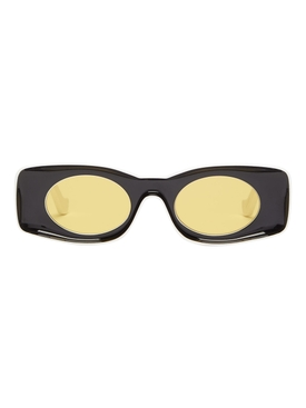 X PAULAS IBIZA BLACK AND YELLOW RECTANGULAR SUNGLASSES
