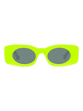 Fluorescent yellow rectangular sunglasses