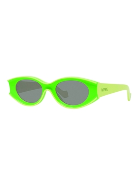 Fluorescent green small oval sunglasses