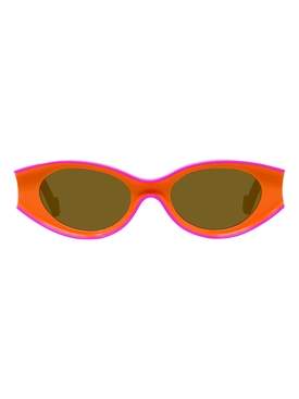 Orange and pink small oval sunglasses
