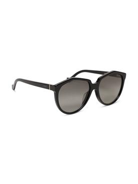 Oversized round sunglasses shiny black