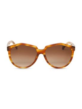 Oversized round sunglasses Havana brown