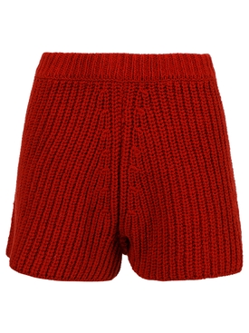 KNIT CACTI SHORTS, RED DULSE