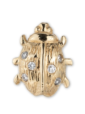 18K Gold Lady Luck Ladybug Single Earring