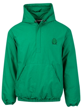 Embroidered Logo Hoodie with Zip Neck Closure Green