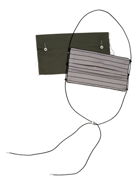 Reversible Cotton Face Mask, White Stripe & Grey
