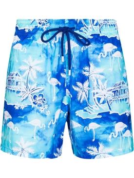 Mahina Flamingo Print Swim Trunks Lagoon Blue