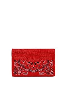 LEATHER BANDANA CARD HOLDER RED