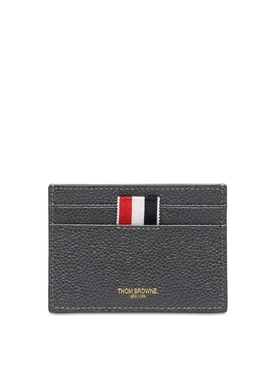 Pebbled Leather Card Holder Grey