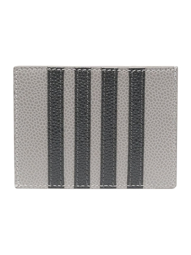 PEBBLED LEATHER SINGLE CARD HOLDER, LIGHT GREY