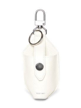 LEATHER HAND SANITIZER POUCH WHITE