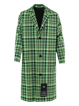 S.r. Studio. La. Ca - Green And Black Check Print Trench Coat - Men