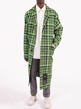 Green and Black Check Print Trench Coat
