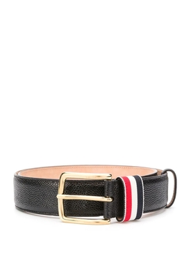 striped loop pebbled leather belt, black