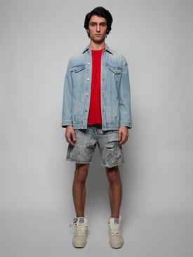SCREEN PRINT BANDANA DENIM SHORTS, CLAY INDIGO