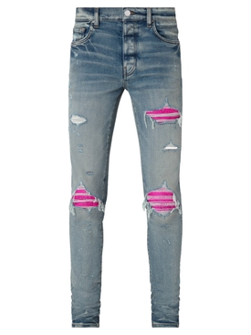 MX1 Cracked Pink Leather Patched Jean