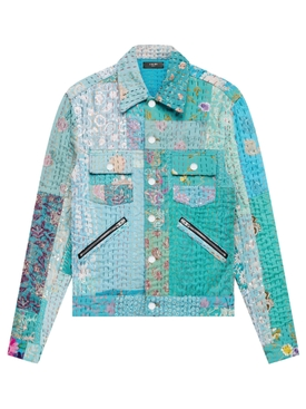 Floral Quilted Patchwork Trucker Jacket