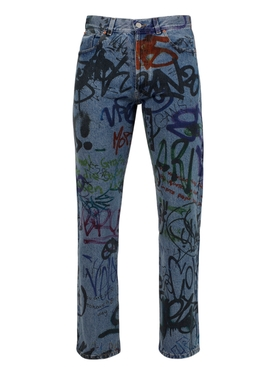 GRAFFITI STRAIGHT LEG DENIM PANT, BLUE