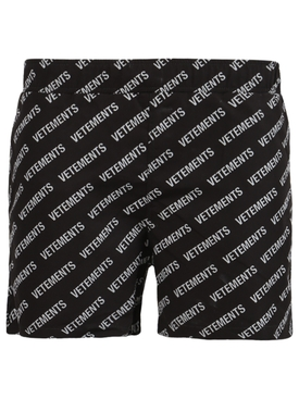 Black and white logo swim shorts