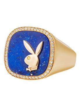 X Playboy Membership Ring, Yellow Gold and Lapis