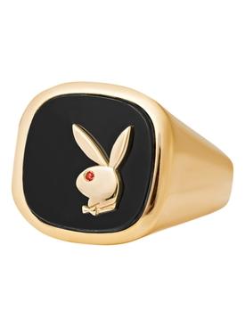 X Playboy Membership Ring, Yellow Gold and Onyx