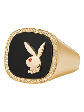 X Playboy Membership Ring, Yellow Gold and Onyx with bezel