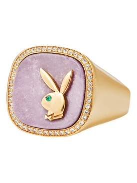 X Playboy Membership Ring, Yellow Gold and Pink Phosphosiderite