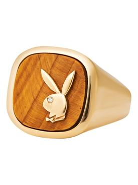 X Playboy Membership Ring, Gold and Tiger's Eye