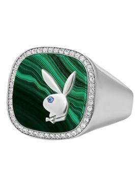 X Playboy Membership Ring, Sterling silver and Malachite