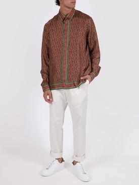 Silk printed long sleeve shirt LAUREL MONOGRAM DARK